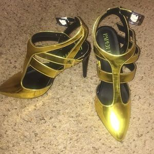 PaperFox Gold&Black Heels, Strappy High Stiletto